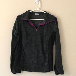 Fuchsia Color Trimmed Gray Fleece Zip Up